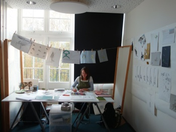 Sophia Marinkov Jones working in her studio in the foyer at Hanover Primary School, N1